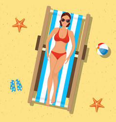 girl sunbathing on a deckchair vector image