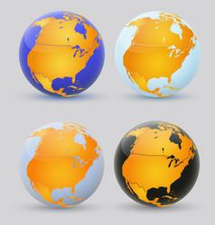 globe and north america set of multi-colored vector image