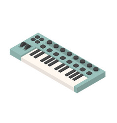 green isometric synthesizer musical equipment vector image