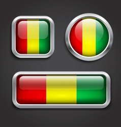 Guinea flag glass buttons vector image