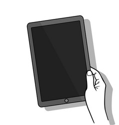 Hand holing tablet computer with blank screen vector