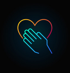 hand with heart bright outline icon vector image