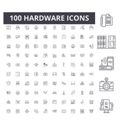 Hardware line icons signs set outline vector