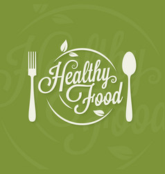 Healthy food logo plate with fork and spoon vector