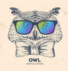 Hipster bird owl hand drawing muzzle of bird owl vector