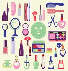 Icon Set ofCosmetics Make Up and Beauty objects vector image