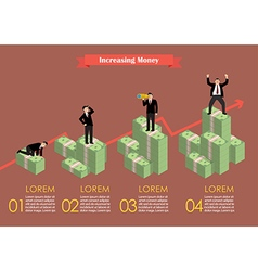 Increasing cash money with businessman in various vector