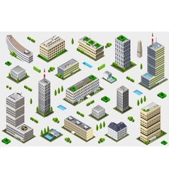 Isometric Megalopolis Building Collection vector image