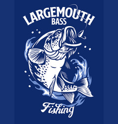 largemouth bass fish t-shirt design vector image