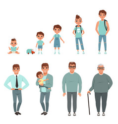 Life cycles of man stages of growing up from baby vector