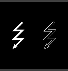 lightning icon set white color flat style simple vector image