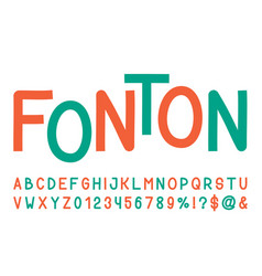 line sans serif font hand drawn artistic alphabet vector image