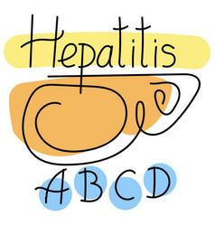 Liver is depicted inscription hepatitis vector