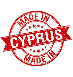 Made in cyprus red round vintage stamp vector