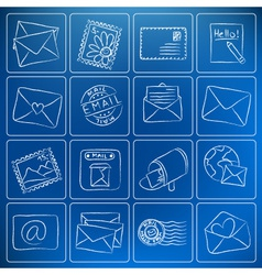 Mail post icons chalky doodles vector