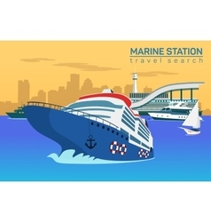 Marine station flat background vector