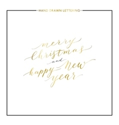 Merry Christmas and Happy New Year gold text vector