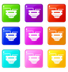 Monitor socket icons 9 set vector