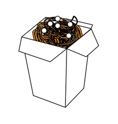 Noodles box design vector