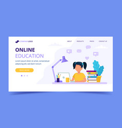online education for children landing page girl vector image