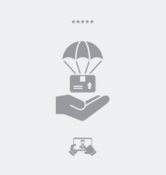 parachuted delivery - minimal icon vector image