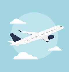 Planeflat airplane flying in blue sky vector