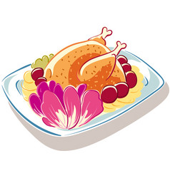 Plate with freshly baked roast chicken vector