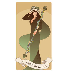 Queen of wands with flowers crown holding a rod vector
