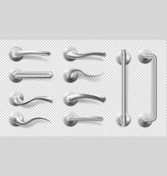 Realistic metal door handles and pulls vector
