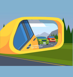 Rear view mirror car reflection side driving vector