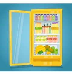 Refrigerator Full of Raw Fruit Products vector image