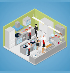 Restaurant kitchen interior isometric vector