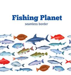 Seamless border fish vector