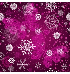 Seamless purple gradient pattern with snowflakes vector