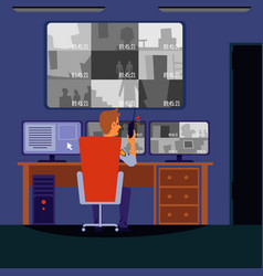 security room interior - cartoon guard man sitting vector image