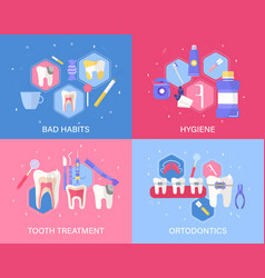 Set four dental banners or posters vector
