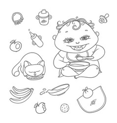 set happy child and kitten eat chubby vector image