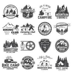 Set mountain biking and camping club badge vector