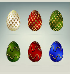 set of easter eggs in different colors vector image