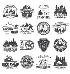 set of mountain biking and camping club badge vector image