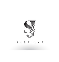 sj logo design with multiple lines and black and vector image