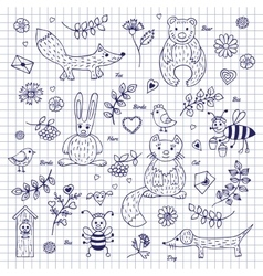 Sketch animals and plants vector