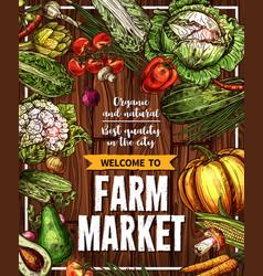 Sketch vegetables farm market poster vector