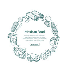 Sketched mexican food elements in form vector