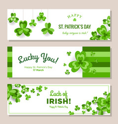 st patrick day horizontal banners set vector image