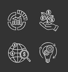 startup chalk icons set vector image