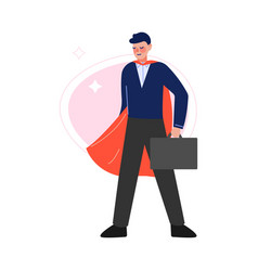 Super man in red waving cape standing vector