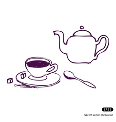 Tea cup and kettle vector