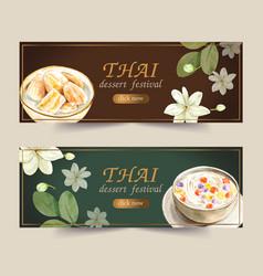 Thai sweet banner design with bua loi banana vector