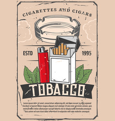 Tobacco and lighter or glass ashtray retro poster vector